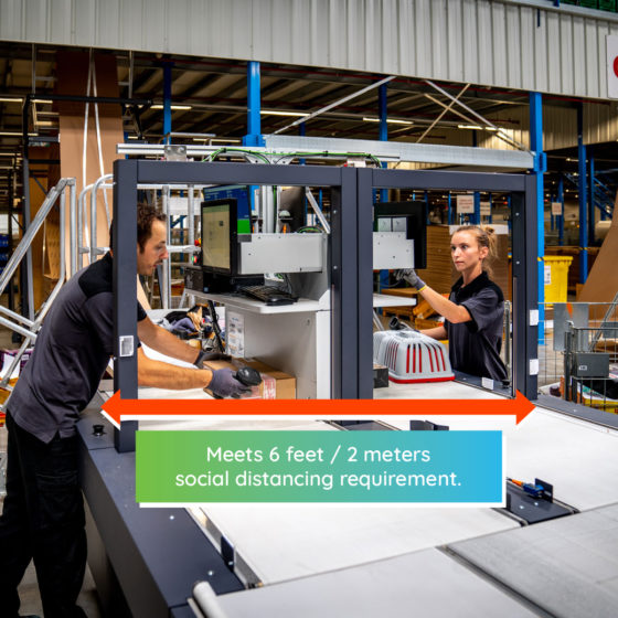 The CVP Automated Packaging Solutions with Dial Induct Station supports social distancing guidelines.