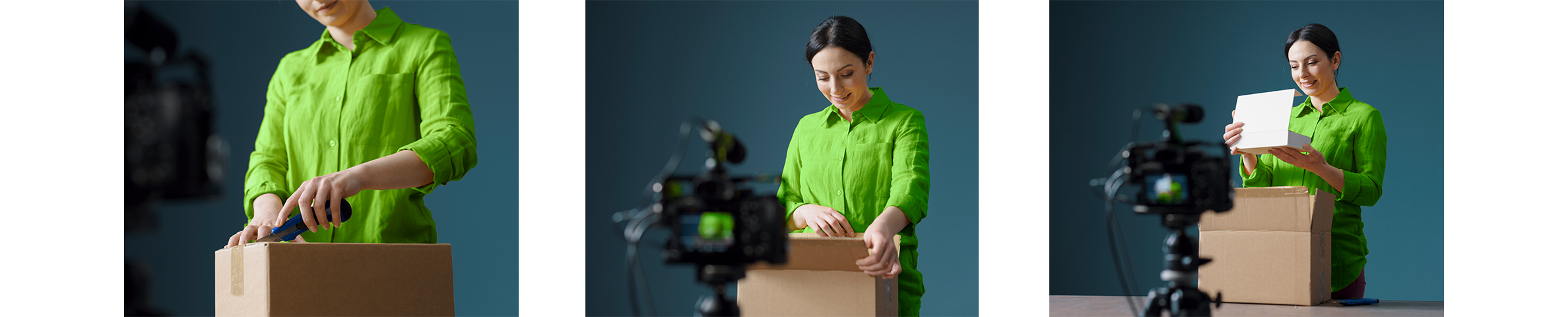 A woman curiously filming an unboxing video of her recent online purchase order   Positieve customer experience